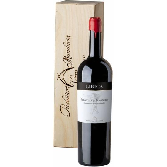 """Consorzio Manduria: Primitivo di Manduria """"Lirica"""" MAGNUM 2017 nagypalackos vörösbor (Puglia, Olaszország)"""