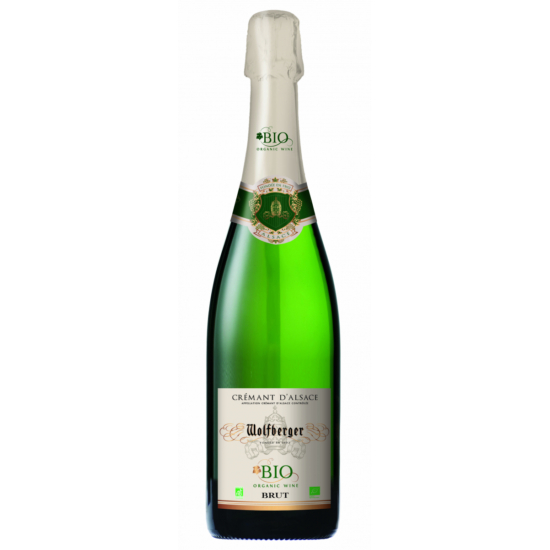 Wolfberger: Crémant d' Alsace Brut BIO palackos erjesztésű fehér pezsgő (Elzász, Franciaország)