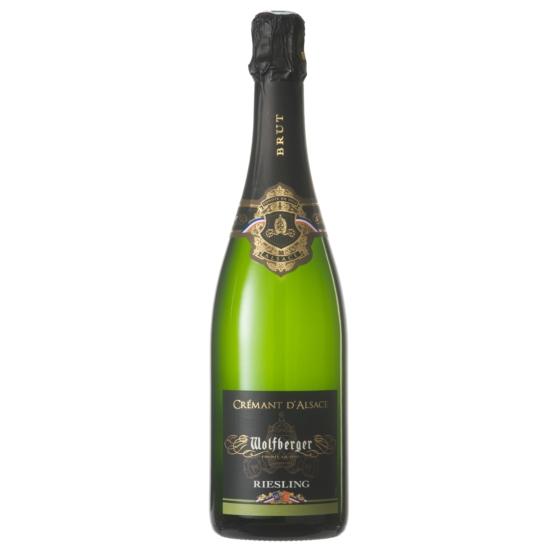 Wolfberger: Crémant d' Alsace Riesling Brut palackban erjesztett fehér pezsgő (Elzász, Franciaország)